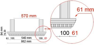 Bemaßte Zeichnung für seitlichen Überstand der Fensterbank 106 an Laibungsverkleidung von 61 mm