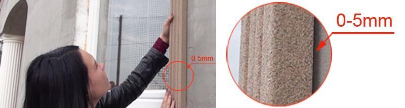 Abstand zwischen Hausfassade und Zierprofil beträgt maximal 5 mm
