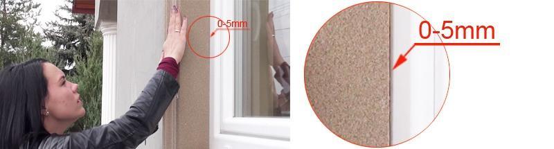 Abstand zwischen Fenster und Leibungsverkleidungsprofil beträgt maximal 5 mm