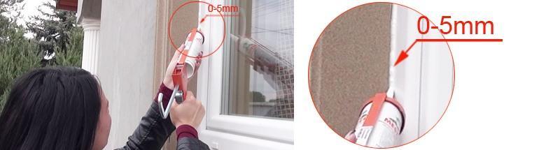 Abstand zwischen Fenster und Leibungsverkleidungsprofil mit Styroporkleber auffüllen