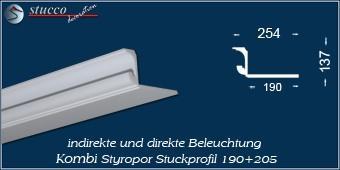 Indirekte Beleuchtung - L-Profil Zierleiste München 190+205