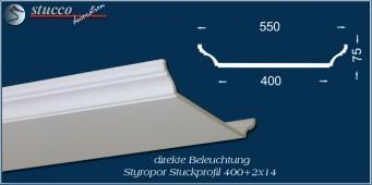 Stuckleiste für direkte Beleuchtung mit LED Spotlampen Trier 400+2x14