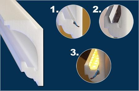 Indirekte Beleuchtung mit Styroporprofil, Reflektorleiste und LED Strip