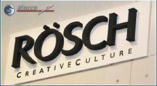 Schwarzes Markenlogo Rösch aus 3D Buchstaben
