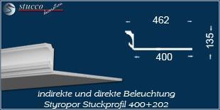 Styroporleiste für direkte und indirekte Beleuchtung Essen 400+202