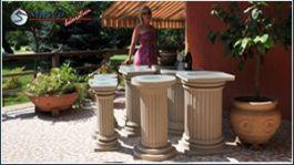 Dekosäulen mit Kunstharz-Quarzsand-Beschichtung
