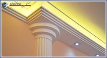 Direkte und indirekte Beleuchtung mit Dekosäulen kombiniert
