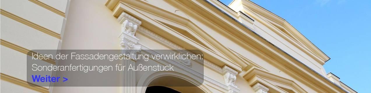 Denkmalgeschütztes Gebäude mit Fassadenstuck